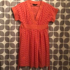 BCBG MaxAzria size 0 Coral Dress with open circles